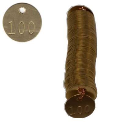 No 71 Jetons de laiton numérotés de 1 à 100
