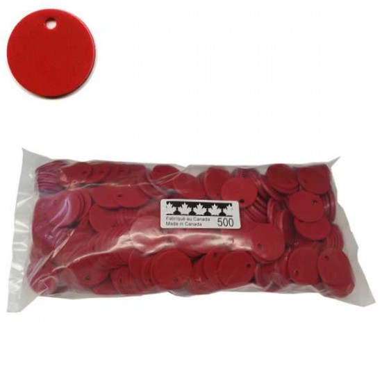 No 71 Jetons polyéthylène Rouge. Sac de 500