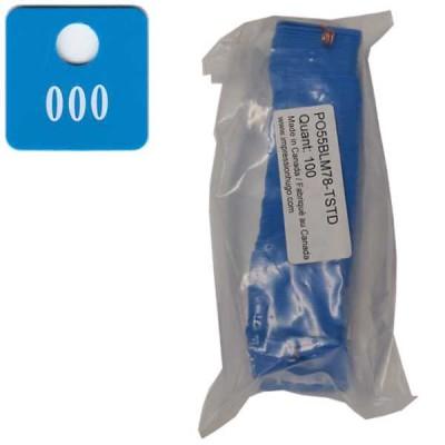 No 78 Bleu Médium Num. 1301 à 1400 en Blanc