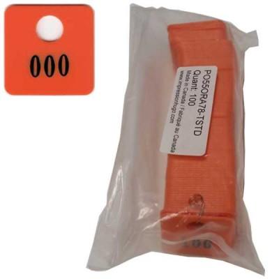 No 78 Orange Num. 001 à 100 en Noir